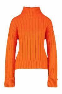 Womens Tall Wide Rib Turn Up Cuff Jumper - orange - L, Orange