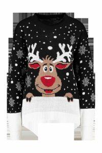 Womens Reindeer Christmas Jumper - black - M/L, Black