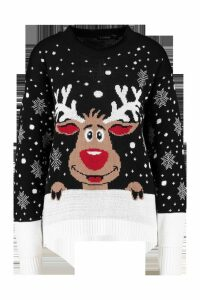 Womens Contrast Hem Reindeer Christmas Jumper - black - M/L, Black