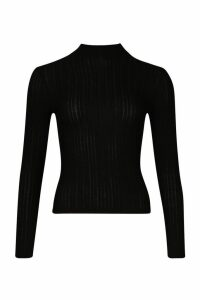 Womens Long Sleeved roll/polo neck Rib Top - black - 12, Black