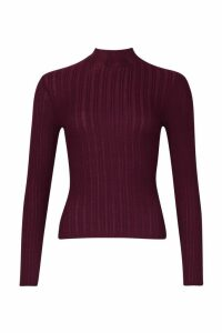 Womens Long Sleeved roll/polo neck Rib Top - red - 14, Red