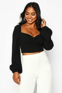 Womens Crepe Wrap Long Sleeve Crop Top - Black - 12, Black