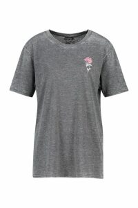 Womens Acid Wash Pocket Rose Print T-Shirt - grey - M, Grey