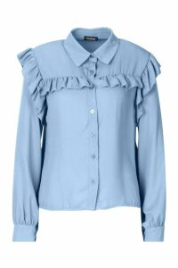 Womens Ruffle Detail Shirt - blue - 10, Blue
