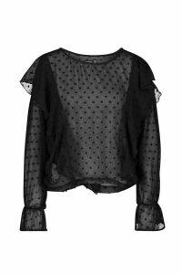 Womens Dobby Mesh Ruffle Sleeve Blouse - black - 8, Black
