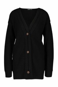 Womens Button Through Cable Knit Cardigan - black - L, Black