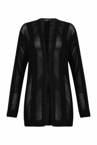 Womens Cable Knit Boyfriend Cardigan - black - M, Black