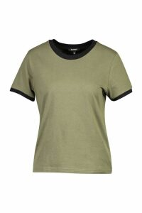 Womens Ringer T-Shirt - Green - 10, Green