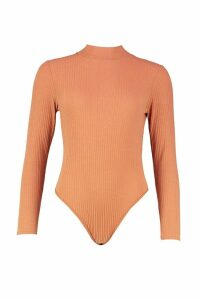 Womens roll/polo neck Rib Long Sleeve Thong Bodysuit - beige - 14, Beige