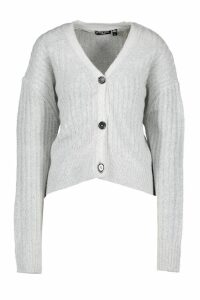 Womens Button Through Rib Knit Cardigan - grey - XS, Grey