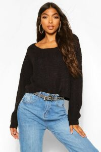 Womens Tall V Back Crop Jumper - Black - M, Black