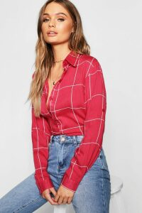 Womens Large Grid Oversized Shirt - red - M, Red