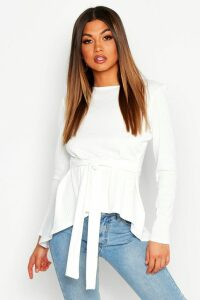 Womens Jumbo Rib Hem Peplum Long Sleeve Top - white - 12, White