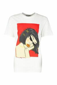 Womens Face Graphic Slogan T-Shirt - White - L, White