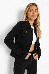 Womens Slim Fit Western Denim Jacket - black - 16, Black
