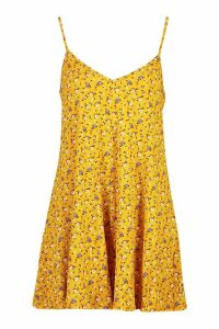 Womens Ditsy Floral Jersey Swing Playsuit - Yellow - 12, Yellow