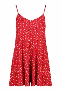 Womens Ditsy Floral Jersey Swing Playsuit - Red - 12, Red