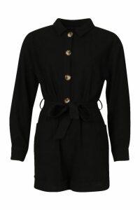 Womens Button Through Shirt Utility Playsuit - black - 12, Black