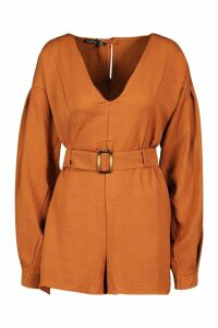 Womens V Neck Sleeve Belted Utility Playsuit - brown - 12, Brown