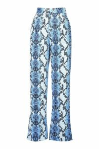 Womens Snake Print Wide Leg Trouser - blue - 14, Blue