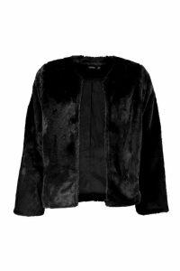 Womens Collarless Faux Fur Coat - black - 10, Black