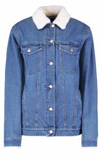 Womens Tall Borg Lined Denim Jacket - blue - 16, Blue