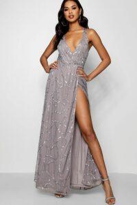 Womens Plunge Wrap Sequin Maxi Dress - grey - 14, Grey