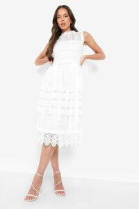 Womens Boutique Lace Midi Skater Dress - white - 14, White