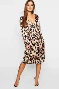 Womens Petite Satin Wrap Tie Leopard Print Dress - brown - 10, Brown