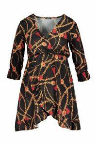 Womens Plus Chain Printed Ruffle Wrap Dress - black - 24, Black