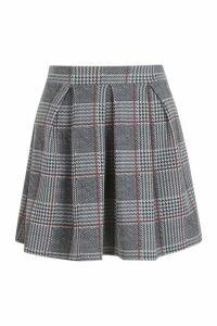 Womens Petite Checked Box Pleat Skater Skirt - Grey - 4, Grey