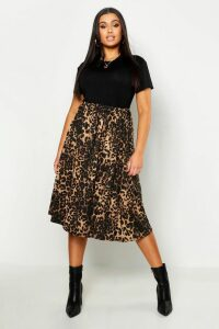 Womens Plus Jersey Animal Print Midi Skater Skirt - brown - 20, Brown