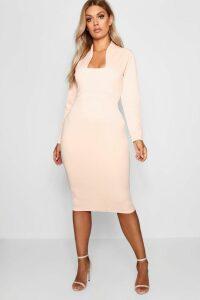 Womens Plus Plunge High Collar Midi Dress - Beige - 20, Beige