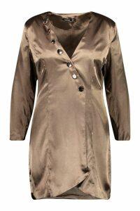 Womens Plus Satin Tailored Button Blazer Dress - green - 18, Green