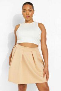 Womens Plus Scuba Mini Skirt - Beige - 20, Beige