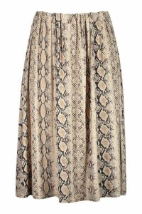Womens Plus Jersey Animal Print Midi Skater Skirt - beige - 20, Beige