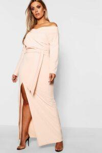 Womens Plus Off The Shoulder Wrap Dress - Beige - 20, Beige