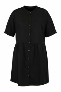 Womens Plus Button Front Smock Dress - Black - 16, Black