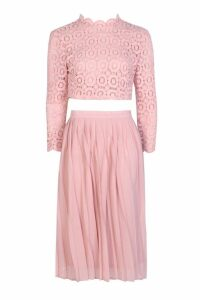 Womens Boutique Lace Top and Midi Skirt Set - pink - 10, Pink