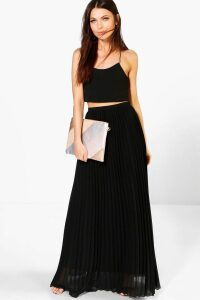 Womens Chiffon Pleated Maxi Skirt - Black - 10, Black