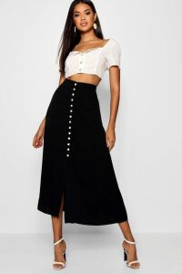 Womens Small Button Detail Midi Skirt - Black - 10, Black