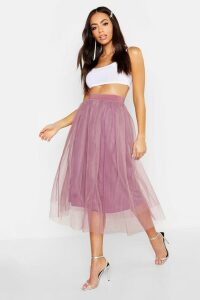 Womens Tulle Longer Length Midi Skirt - Purple - 8, Purple