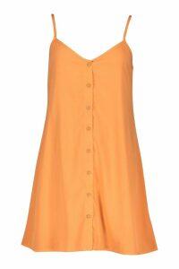 Womens Button Through Woven Cami Shift Dress - Orange - 16, Orange
