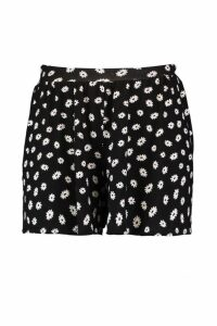 Womens Plus Daisy Print Jersey Flippy Shorts - black - 20, Black