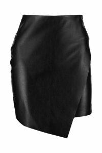Womens Petite Asymmetric PU Mini Skirt - black - 4, Black