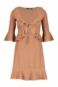 Womens Tall Rib Ruffle Tea Dress - beige - 12, Beige