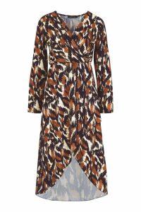 Womens Tall Abstract Print Wrap Midi Dress - beige - 8, Beige