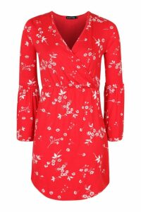 Womens Petite Printed Flute Sleeve Wrap Dress - Red - 12, Red