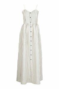 Womens Tall Stripe Button Up Pocket Maxi Dress - Beige - 18, Beige