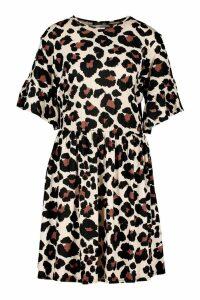 Womens Tall Leopard Print Smock Dress - Brown - 10, Brown